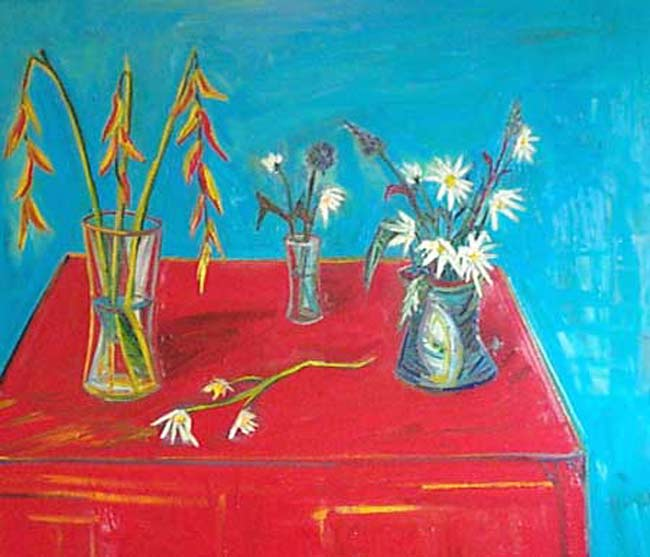 Patrick John Mills | Flowers on Red Table Table For Three